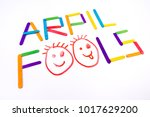 april fools  background with... | Shutterstock . vector #1017629200