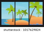 landscapes set with palms  sand ... | Shutterstock .eps vector #1017629824