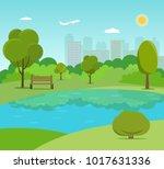 landscape in city park . park... | Shutterstock .eps vector #1017631336