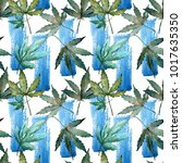 cannabis leaves pattern in a... | Shutterstock . vector #1017635350