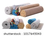 set of different carpets on... | Shutterstock . vector #1017645043