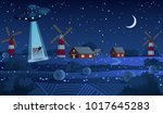 ufo abducting a cow  summer... | Shutterstock .eps vector #1017645283
