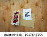 a note with leave the past... | Shutterstock . vector #1017648100