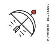 cupid bow arrow line icon.... | Shutterstock .eps vector #1017652090