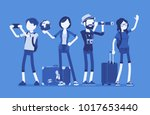 travelers group with luggage.... | Shutterstock .eps vector #1017653440
