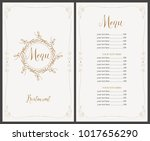 vector menu for restaurant with ... | Shutterstock .eps vector #1017656290