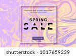 spring sale banner on liquid... | Shutterstock .eps vector #1017659239