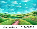 oil pastel painting on canvas ... | Shutterstock . vector #1017660733