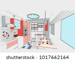 author's  project of  interior  ... | Shutterstock .eps vector #1017662164