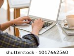 top views desk work places with ... | Shutterstock . vector #1017662560