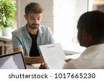 stressed caucasian applicant... | Shutterstock . vector #1017665230