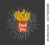 hand drawn french fries... | Shutterstock .eps vector #1017665608