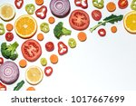 assorted sliced vegetables and... | Shutterstock . vector #1017667699
