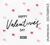 happy valentines day typography ... | Shutterstock .eps vector #1017668413
