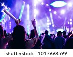 two women friends crowd concert ... | Shutterstock . vector #1017668599