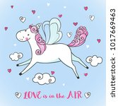 greeting card with cute unicorn ... | Shutterstock . vector #1017669463