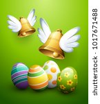 flying easter bells and eggs | Shutterstock .eps vector #1017671488
