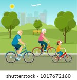 grandfather  grandmother and... | Shutterstock .eps vector #1017672160