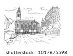 vector sketch of cvjetni square ... | Shutterstock .eps vector #1017675598