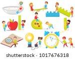 children playing  measuring ... | Shutterstock .eps vector #1017676318