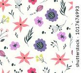 hand drawn flower background... | Shutterstock . vector #1017676993
