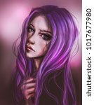 beautiful girl with purple hair ...   Shutterstock . vector #1017677980