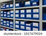 warehouse of spare parts and... | Shutterstock . vector #1017679024