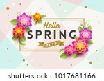 spring greeting card with... | Shutterstock .eps vector #1017681166