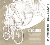 illustration of cycling. hand... | Shutterstock .eps vector #1017682246