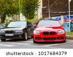 Saint-Petersburg, Russia - September 16, 2017: Cars BMW 7, 3-series for rally car lovers German Bavarian manufacturer BMW. Event BMW Meetup. Autumn meeting car lovers of speed and drive