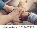 team teamwork join hands... | Shutterstock . vector #1017687910