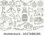 pirates icons set  sabre  skull ... | Shutterstock .eps vector #1017688180