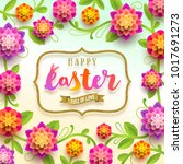 easter greeting card   holiday... | Shutterstock .eps vector #1017691273