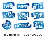 sale stickers set  crazy deal ... | Shutterstock .eps vector #1017691390