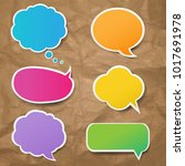 color speech bubbles set with... | Shutterstock .eps vector #1017691978