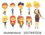 elementary school group of... | Shutterstock .eps vector #1017692326