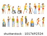 young people with permanent and ... | Shutterstock .eps vector #1017692524