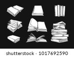 books vector collection. pile... | Shutterstock .eps vector #1017692590