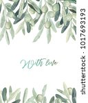 watercolor olive floral... | Shutterstock . vector #1017693193