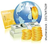 global financial concept with...   Shutterstock . vector #1017697639