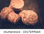 wine wooden cork on wooden... | Shutterstock . vector #1017699664