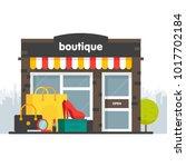 boutique facade. illustration... | Shutterstock .eps vector #1017702184