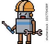 vector pixel art mechanic robot ... | Shutterstock .eps vector #1017704389