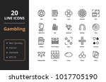 20 gamble line icons | Shutterstock .eps vector #1017705190