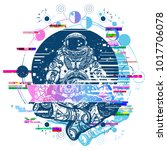 astronaut glith tattoo and t... | Shutterstock .eps vector #1017706078