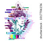 glitch tattoo. magic woman... | Shutterstock .eps vector #1017706156