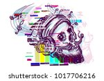 human skull glitch tattoo and t ... | Shutterstock .eps vector #1017706216