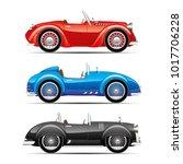 set of retro cars on white... | Shutterstock .eps vector #1017706228