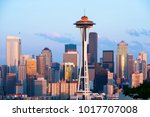 skyline of downtown seattle at... | Shutterstock . vector #1017707008