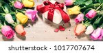 bouquet of multicolor roses... | Shutterstock . vector #1017707674